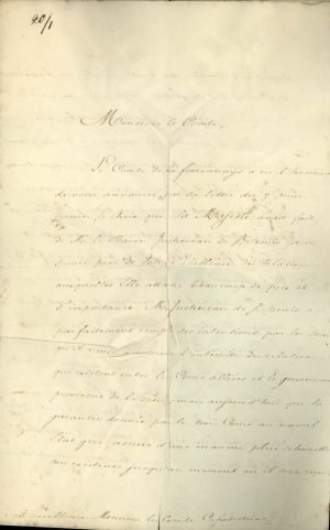 French Minister of Justice Joseph-Marie Portalis announces to I. Kapodistrias that the King of France Charles X upgraded French diplomatic representation to the Greek Government by appointing Baron Achille Rouen as Resident and Consul General Page 1