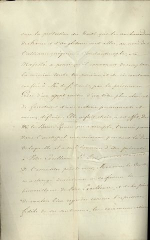 French Minister of Justice Joseph-Marie Portalis announces to I. Kapodistrias that the King of France Charles X upgraded French diplomatic representation to the Greek Government by appointing Baron Achille Rouen as Resident and Consul General Page 2