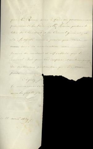 French Minister of Justice Joseph-Marie Portalis announces to I. Kapodistrias that the King of France Charles X upgraded French diplomatic representation to the Greek Government by appointing Baron Achille Rouen as Resident and Consul General Page 3
