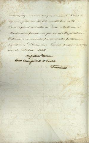 Τα διαπιστευτήρια του πρώτου Πρεσβευτή της Αυστρίας στην Ελλάδα Anton Prokesch von Osten, υπογεγραμμένα από τον Αυτοκράτορα Φραγκίσκο σελ. 2