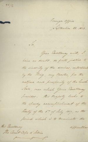 Επιστολή διαπίστευσης του Βρετανού Αντιπρεσβευτή E. Dawkins στην ελληνική Κυβέρνηση από τον Υπουργό Εξωτερικών του Ηνωμένου Βασιλείου George Hamilton-Gordon σελ. 1