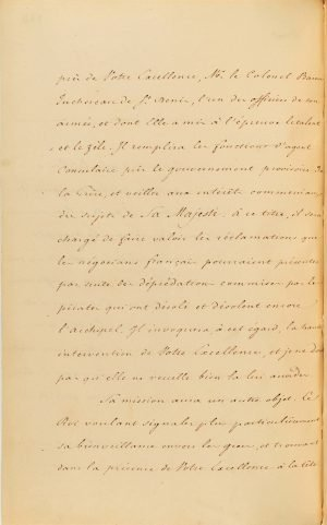 French Minister of Foreign Affairs Count Auguste de la Feronnays notifies Governor of Greece Ioannis Kaposistrias of the nomination of Baron Antoine Juchereau de Saint-Denis as the French Consular Agent to the Greek Government Page 2