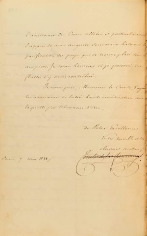 French Minister of Foreign Affairs Count Auguste de la Feronnays notifies Governor of Greece Ioannis Kaposistrias of the nomination of Baron Antoine Juchereau de Saint-Denis as the French Consular Agent to the Greek Government Page 4