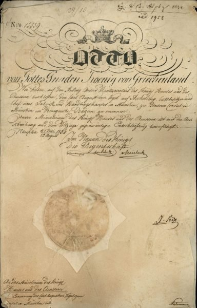 Decree nominating Carl August Von Vogel as Consul of Greece in Munich.