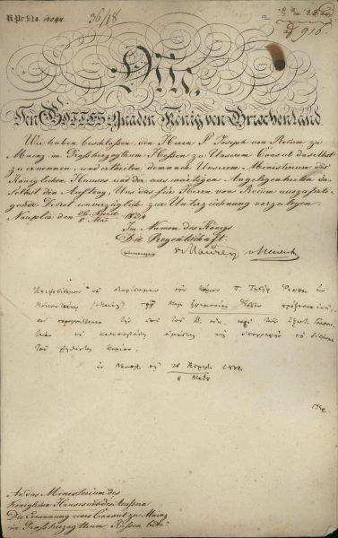 Nomination of P. Joseph Recum as the Consul of Greece in Mainz