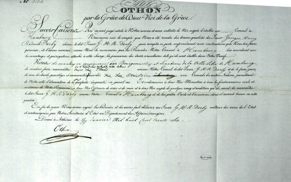 Consular Diploma of the first Consul of Greece in Hamburg, George Henry Roderick Darby