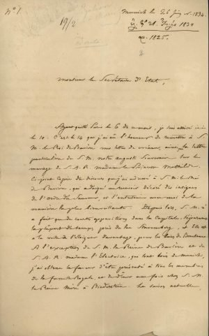 The first appointed Ambassador of Greece to Bavaria and Prussia, Michael Schinas, describes the presentation of his credentials to the King of Bavaria on 14 June 1834 Page 1