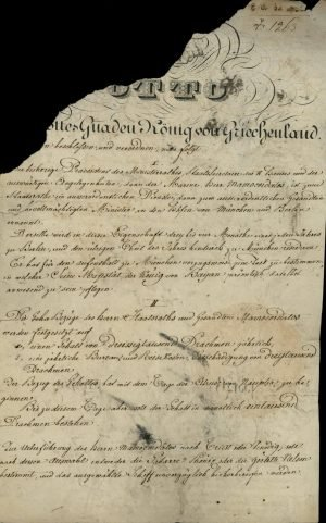 Decree appointing Alexandros Mavrokordatos, until then Prime Minister and Minister of Foreign Affairs, as Ambassador of Greece in Bavaria and Prussia Page 1
