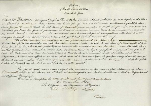 The consular diploma of the first Consul of Greece in Ancona, Georgios Douroutis