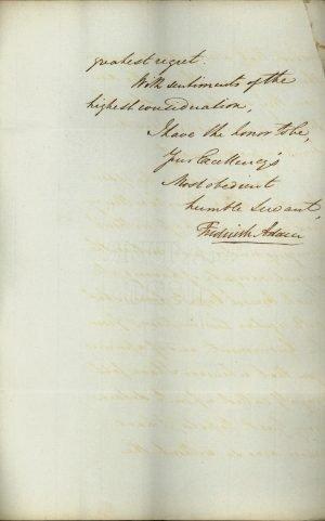 Πρώτη και δύο τελευταίες σελίδες εκτενούς επιστολής του Ύπατου Αρμοστή των Ιονίων Νήσων Frederick Adam προς τον Κυβερνήτη της Ελλάδας Ιωάννη Καποδίστρια σελ. 3