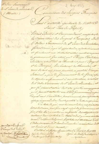 Copy of the (first ones to be presented to a Greek Government) credentials of Knight Philippe Chastelain, who was appointed Representative (Ambassador) of the Order to the Greek Government