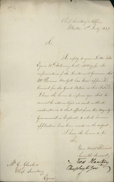 The Chief Secretary of Malta informs Minister of Foreign Affairs Georgios Glarakis that he cannot recognize Thomas McGill as Consul of Greece unless he receives approval from London