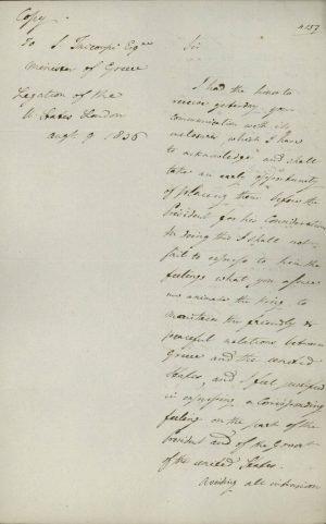 Αντίγραφο επιστολής του Πρεσβευτή των ΗΠΑ στο Λονδίνο Andrew Stevenson προς τον Έλληνα Πρεσβευτή εκεί Σπυρίδωνα Τρικούπη σελ. 1