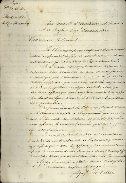 Copy of a letter by which the first Consul of Greece in the Dardanelles, Nikolaos Vitalis, notifies the local Consuls of the Great Powers of his establishment and recognition
